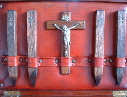 c1900 Vampire Kit Wooden Stakes and Crucifix