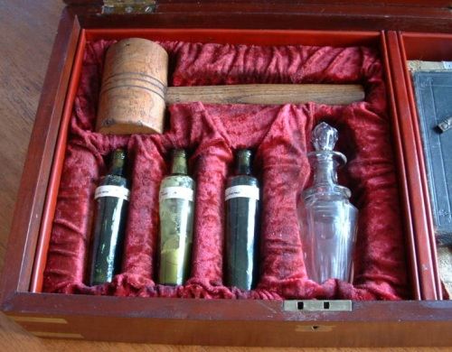 c1900 Vampire Kit Wooden Hammer, Viles and Holy Water